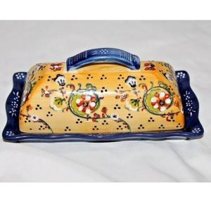 ANTHROPOLOGIE Butter Dish Floral Lyna Boho French
